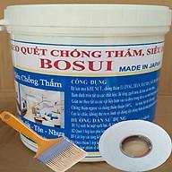 Keo quét chống thấm tường, Bịt kín mọi KHE NỨT , TRẦN, MÁI NHÀ , SÂN THƯỢNG, NHÀ VỆ SINH, MÁNG SÓI, đa năng thông minh ( 1kg). Tặng kèm chổi quét sơn và 2,5m vuông vải thumbnail