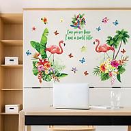 Decal dán tường chất liệu PVC loại 1 trang trí phòng khách- Đôi hạc lá xanh thumbnail