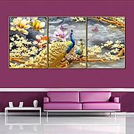 Bộ tranh treo tường 3 tấm trang trí phòng khách, phòng ngủ phong cách mỹ thuật hiện đại chất liệu cán pvc gương 4411L15S thumbnail