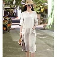 Đầm suông linen tay lỡ 2 túi bổ trước ArcticHunter, chất vải linen mềm mát, thời trang xuân hè 2021 thumbnail