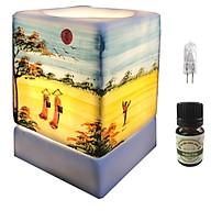 Đèn xông tinh dầu vuông VGOM01 và 1 chai tinh dầu bạc hà Eco oil 10ml cùng 1 bóng đèn thumbnail