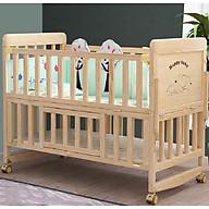 Cũi gỗ trẻ em, cũi 2 tầng làm nôi, ghép cạnh giường cha mẹ kích thước 105 60 90 gỗ thông. AKACHAN HONPO thumbnail