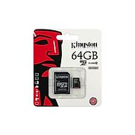 Thẻ Nhớ Micro SD Kingston 64GB Class 10 + Adapter - Hàng Chính Hãng thumbnail