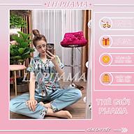 Bộ đồ ngủ, đồ bộ Pijama lụa nữ mặc nhà bộ ngủ lụa satin tay ngắn quần dài phối họa tiết thumbnail