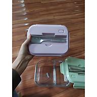 Hộp thực phẩm 2 ngăn - 3 ngăn thủy tinh kèm đũa, thìa (giao màu ngẫu nhiên) thumbnail