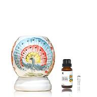 Đèn xông tinh dầu hoạ tiết con công Kepha, tặng tinh dầu Cam Ngọt Tây ban nha 10ml và 1 bóng đèn xông tinh dầu dự phòng Đèn xông tinh dầu gốm sứ cao cấp thumbnail