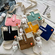 Túi đeo chéo nữ SAM CLO mini bag canvas khóa kéo búp bê thời trang hàn quốc dễ thương, đi chơi, đi học chữ FOREVER thumbnail