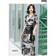 Đầm Nữ Dáng Dài Kiểu Shirtwaist Dress Cổ Tim Chất Liệu Hoa Lụa Mềm Mịn thumbnail