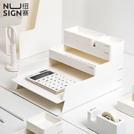 Nusign Desktop Storage Box Set DIY Combination Multifunctional Storage Round Angle Design Simple Bookshelf Multi-layer Book Stand File Basket For Office Home School Student Supplies thumbnail