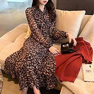 Đầm Maxi Voan Hoa Tay Dài Phối Nơ Trẻ Trung Phong Cách Retrol Hàn Quốc - MSP D10 thumbnail