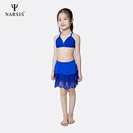 Bộ bơi bé gái Narsis KA0002 màu xanh phối ren thumbnail