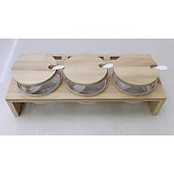 Sét 3 hũ đụng gia vị thủy tinh khay gỗ có chân - ANTH305 thumbnail