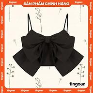 Áo hai dây croptop nơ đen vải đũi tingoan TAWNY TOP V1 BL FS thumbnail