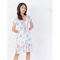 Váy đầm thời trang công sở Eden họa tiết hoa phối dây rút. Chất voan mềm mại. Họa tiết hoa tinh tế. Freesize - D404 thumbnail