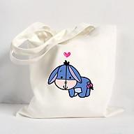 Túi Vải Đeo Vai Tote Bag In Hình Chú lừa xanh - Màu trắng thumbnail