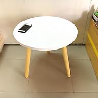 Bàn tròn trắng sofa 50x45, bàn trà, bàn cafe, coffee, cà phê, bàn salon, sopha, bàn gỗ phòng khách Pk thumbnail