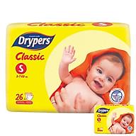 Tã Dán Drypers Classic Gói Trung S26 (26 Miếng) + Tặng 1 Gói Cùng Loại thumbnail