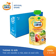 Thùng 12 Gói Trái cây nghiền vị táo, đào và ngũ cốc Fruto Nyanya 130g thumbnail