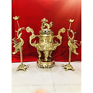 Bộ đỉnh đồng thờ cúng tam sự rồng vàng(đỉnh và đôi hạc) thumbnail