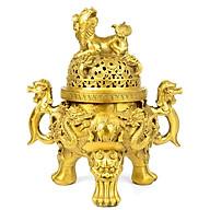 Đỉnh đồng lư hương đúc nổi 3d đồ thờ phụng cao cấp bằng đồng thau Hồng Thắng thumbnail