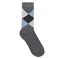 Tất vớ nam dài cao cấp chất liệu cotton họa tiết quả trám hiện đại màu xám thumbnail