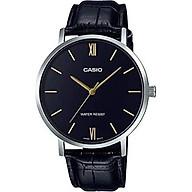 Casio MTP-VT01L-1B Men s Minimalistic Black Dial Black Leather Band Analog Watch thumbnail