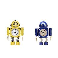 2pcs Silent Robot Alarm Clock Tabletop Wake-up Clock Battery Powered Home Decor thumbnail