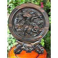 Tranh đĩa Long Phụng sum vầy đế rồng gỗ Mun hoa ta hàng đục tay cực đẹp thumbnail