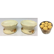 Cặp chân đế đặt nến thờ - đồ thờ AN13103 - kèm hộp nến bơ thực vật 28 viên thumbnail