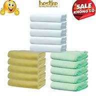 Combo 15 Khăn gội bestke 100% cotton mềm mại và thấm hút 5 white color + 5 nõn chuối + 5 vàng, Cotton towels, towels manufacturer thumbnail