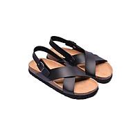 Sandal Huucuong quai chéo đen đế trấu thumbnail