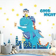 Decal dán tường trang trí phòng ngủ, lớp mầm non- Khủng long xanh- mã sp DQR9090 thumbnail