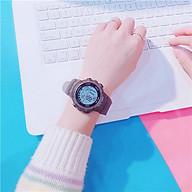 Đồng hồ thể thao thời trang nam nữ Sh1, mặt tròn dây silicon, hiển thị ngày giờ, có báo thức và đèn ban đêm thumbnail