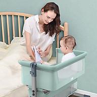 Nôi cho bé đa chức năng, gấp gọn, có bánh xe và màn, ghép cạnh giường cha mẹ thumbnail