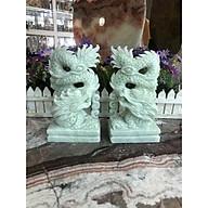 Cặp Rồng đứng phong thủy đá cẩm thạch trắng xanh - Cao 20cm thumbnail