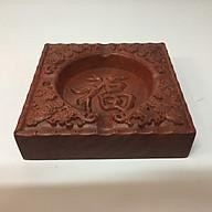 Gạt tàn thuốc lá gỗ hương xịn , khắc hoa văn chữ Phúc thumbnail