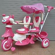 Xe đẩy đôi 2 ghế (Có nhạc + bảo hiểm + mái che)- Màu cho bé gái thumbnail