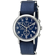 Timex Men s TW2P71300 Weekender Chrono Blue Nylon Slip-Thru Strap Watch thumbnail