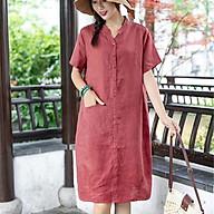 Đầm suông linen cổ trụ túi bổ trước ArcticHunter, thời trang thương hiệu chính hãng - Cam đất thumbnail