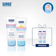 Combo Kem chàm sữa toàn thân cho bé 50ml + kem chống nắng cho bé 50ml EUBOS tặng 2 gel tắm gội cho bé mini size thumbnail