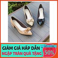 HỖ TRỢ ĐỔI SIZE Giày cao gót 3 phân mũi nhọn Anna gót vuông phối nơ thời trang công sở _A003NN thumbnail