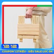 Ghế gỗ mini Gấp Xếp gọn dùng cho dã ngoại,du lịch,câu cá,hoạt động ngoài trời,Kích thước 25 x 28 x 23,Màu Gỗ thông sáng đẹp,Tiện Dụng với mọi vị trí kể cả không gian hẹp,Có thể bỏ gọn trong Cốp ô tô - Ghế Gỗ Xếp Đa năng thumbnail
