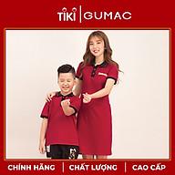 Đầm cho bé gái họa tiết dễ thương xinh xắn chất liệu thun mát phối màu cổ bẻ GUMAC DKA514 màu Đỏ và Kem ( dành cho bé gái từ 12 tháng đến 7 tuổi) thumbnail