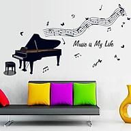 Decal dán tường chất liệu PVC loại 1 dày dặn, trang trí quán cafe, phòng học, phòng ngủ cho bé- Đàn piano- mã sp AY7190 thumbnail