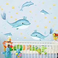 Decal dán tường trang trí phòng ngủ, lớp mầm non- Cá heo xanh- mã sp DXC9056 thumbnail