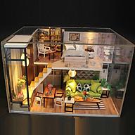 Mô hình nhà DIY Doll House Biệt thự châu Âu Kèm Đèn LED và Mica chống bụi thumbnail