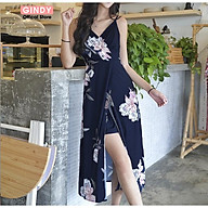 Váy maxi hai dây GINDY váy hai dây phối hoa cổ chữ V chiết eo V0321001 thumbnail