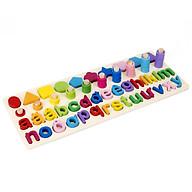 Đồ chơi gỗ, đồ chơi giáo dục bảng số Tiếng Việt cho bé học đếm số, cột tính bậc thang và bảng chữ cái, đồ chơi gỗ giúp phát triển trí não Tặng Kèm 1 bộ tranh ghép 3D thumbnail