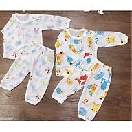 Set 2 Bộ cotton giấy dài tay in hình dễ thương cho bé thumbnail