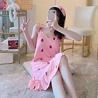 Váy nữ 2 dây mặc ở nhà có đệm mút ngực và dây quai tùy chỉnh cao thấp thumbnail